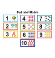 numbers flash cards for kids cut and match vector image vector image