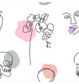 one line art style orchid flower and faces pattern vector image