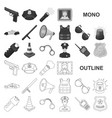 police department monochrom icons in set vector image
