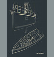 sailing yacht and its interior blueprints vector image vector image