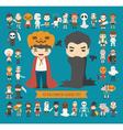 set 40 halloween costume characters vector image vector image