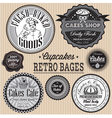 set of retro badges for cakes vector image vector image