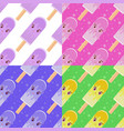 set of seamless patterns in flat cartoon vector image