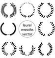 set various laurel wreaths vector image vector image