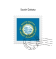 State of South Dakota flag postage stamp vector image vector image