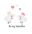 valentines day with two little birds vector image