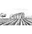 Vintage engraved hand drawn vineyards landscape vector image vector image