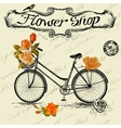 Vintage poster for flower shop design with bicycle vector image vector image