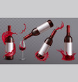 wine bottles splash set vector image