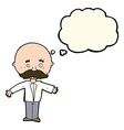 cartoon man with mustache with thought bubble vector image