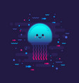 cute cartoon jellyfish character vector image