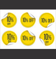 10 percent off yellow paper sale stickers vector image
