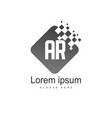 ar letters logo design simple and creative black vector image vector image