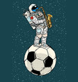 astronaut plays saxophone on a football soccer vector image vector image