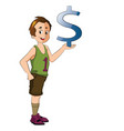 athlete holding a dollar sign vector image vector image