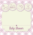 baby girl shower card with retro toys vector image