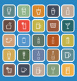 beverage line flat icons on blue background vector image vector image