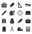 Black Business and office objects icons vector image vector image