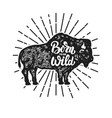 born to be wild grunge style bison silhouette vector image vector image