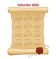 calendar planner for 2022 on old paper vector image