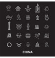 china editable line icons set on black vector image