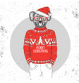 christmas hipster fashion animal koala vector image vector image