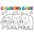 coloring book with three muskoxen vector image vector image