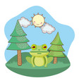 cute animal outdoors cartoon vector image