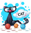 cute funny cat cartoon characters clew knitting vector image