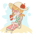 Cute girl lying on the beach vector image vector image