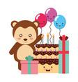 cute monkey gifts and balloons kawaii birthday vector image vector image