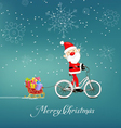 cute santa claus on bicycle delivering christmas vector image vector image