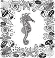 Decorative sea horse and seashells frame vector image