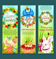 easter holiday egg rabbit chicken banner set vector image vector image