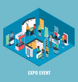 expo event concept flat isometric vector image vector image