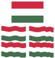 Flat and Waving Flag Of Hungary vector image vector image