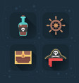 flat pirate icons vector image vector image