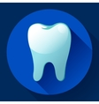 Flat tooth Icon with long shadow Dentist vector image