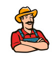 funny farmer with hat logo agriculture farm vector image vector image