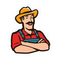 Funny farmer with hat logo agriculture farm