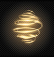 glowing spiral golden light swirl bright speed vector image