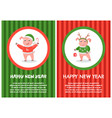 happy new year postcard pig in red hoodie reindeer vector image vector image