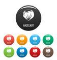 hazelnut icons set color vector image vector image