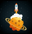 launcher rocket with planet vector image