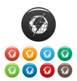 lightning on earth icons set color vector image vector image