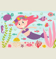 mermaid underwater with nautical animals vector image vector image