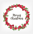 merry christmas lettering inside holiday wreath vector image vector image