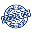 number one blue round grunge stamp vector image vector image