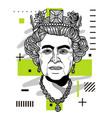 queen elizabeth ii portrait modern geometric vector image