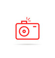red linear simple photo camera logo vector image